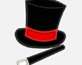 Magicians Hat and Wand...Embroidery Applique Design...Two sizes for multiple hoops...item1174...INSTANT DOWNLOAD