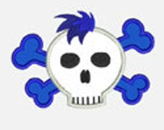 Rocker Skull 3...Embroidery Applique Design...Three sizes for multiple hoops...Item1333...INSTANT DOWNLOAD