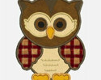 Owl...Embroidery Applique Design...Three sizes for multiple hoops...Item1039...INSTANT DOWNLOAD