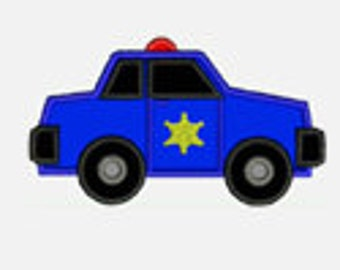 Police Car...Embroidery Applique Design...Three sizes for multiple hoops...Item1266...INSTANT DOWNLOAD