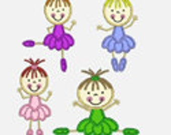 Ballerina...Four Embroidery Applique Designs...Two sizes of each design for multiple hoops...Item1437...INSTANT DOWNLOAD