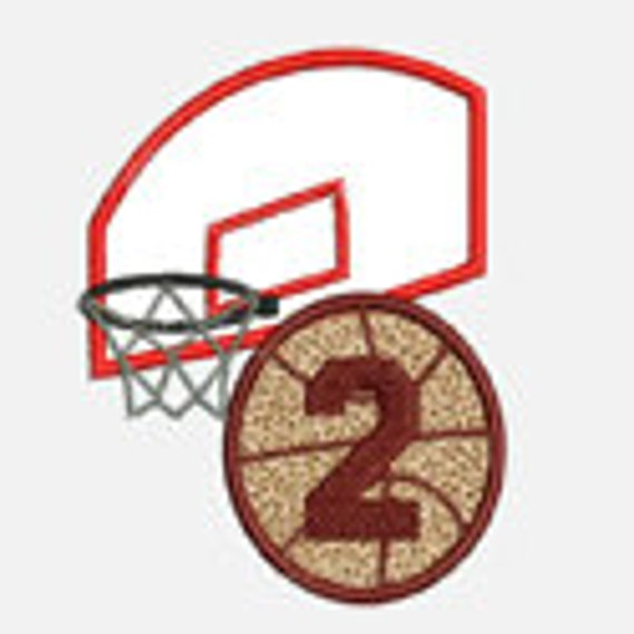 Basketball and Hoop Numbers 1-9...Embroidery Applique Design...Two sizes for multiple hoops...Item1387.