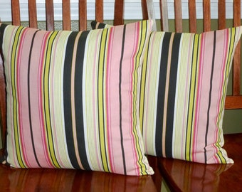 Decorative Pillows,Throw Pillows, Pillow Covers, Accent Pillows -Set of Two 18 Inch - Stripe Pink/Black