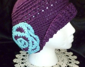 Crochet Hat,  Crochet Cloche, Flapper Hat - Hand Crocheted in a Dark Purple with Blue and Purple Flower