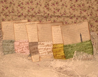 Seam Binding French Script Assorted 6 Pack Vintage Colors and Distress Tag ECS