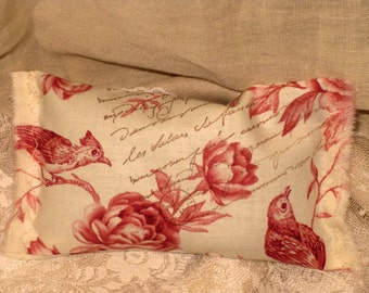 Vintage French Red Song Bird with French Script Handmade French Lavender Sachet Ooh La La