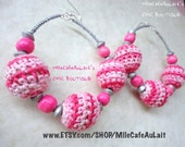 Candy Hot Pink Crocheted Knit Metallic Wood Beaded Hoop Earrings - COMFY COZY