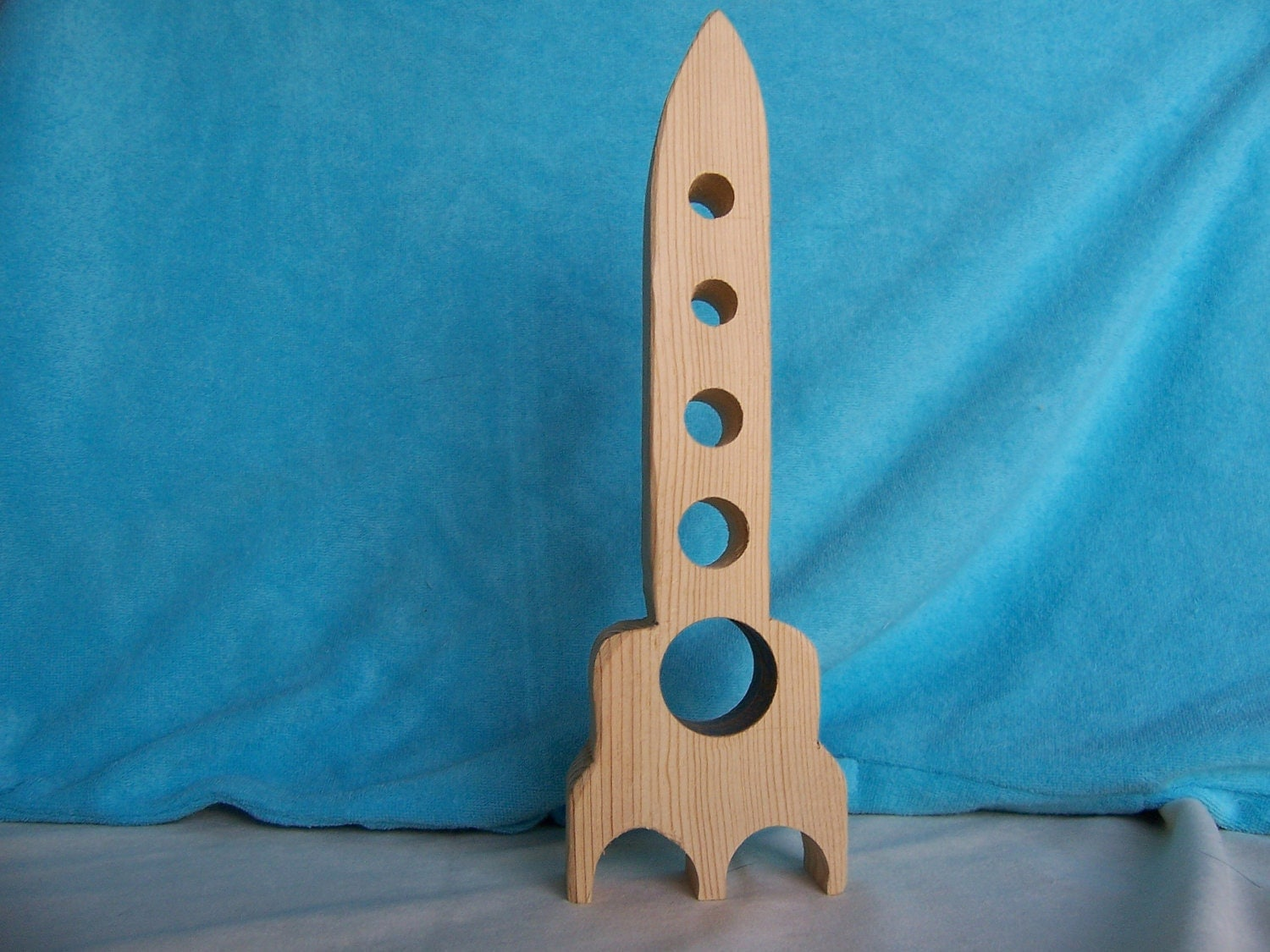 Toy Rocket Ship Handcrafted From Reclaimed Wood For The Kids