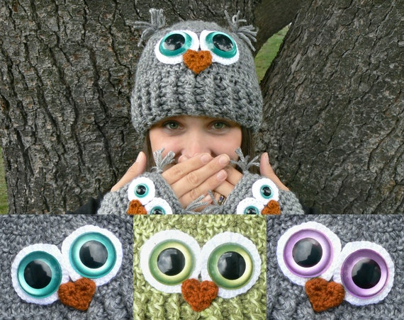 Design Your Own Adult Owl Hat with Fuzzy Luxury Yarn and Jumbo Safety Eyes in Woman's size Regular or Large