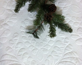 Made to Order Tree Skirt Quilted White Feathered Wholecloth Quiltsy Handmade