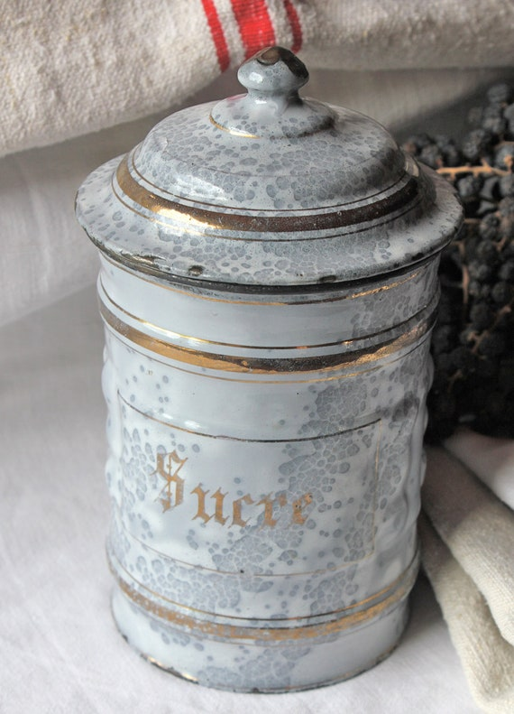 French enamel canister - Sucre