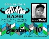 Mustache Invitation Birthday Printable Girls Boys Blue Purple Mustache Bash Photograph Invite