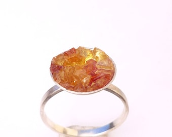 Peach Yellow Orange Sapphire Ring Crystal Bubble Druzy in Recycled Silver