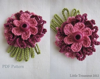 PDF Pattern for Crocheted Flowers - Sunny flowers pattern, thin petalled flowers, photo-tutorial, crochet instructions