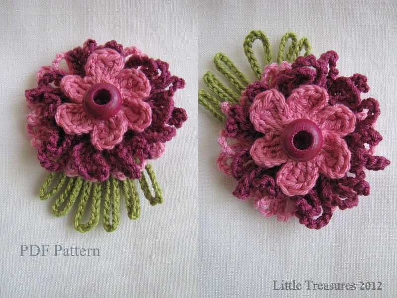 Make Crochet Flower Pattern : PDF Pattern for Crocheted Flowers Sunny flowers by sewella