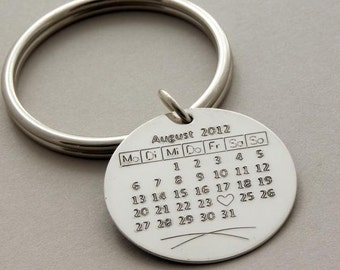 Couples Gift, Anniversary, Wedding gift Keychain Calendar Heart, Save the Date, Your special Day 925-silver custom engraved Handmade Jewelry