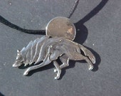 Wolf and Full Moon PENDANT KAM Design in Sterling Silver
