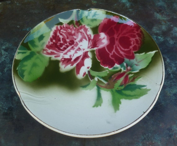 Gien French Faience Plate. Peonies, Roses. Pink, Cranberry Red, Green. Vintage Antique 1920s.