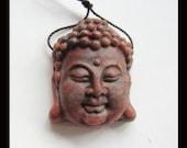 Carved Amazonite Buddha Head Pendant Bead,25x31x12mm,13.20g