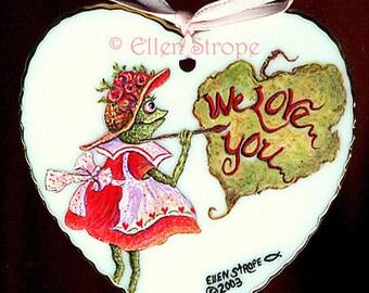 Porcelain Heart, hand painted, magnet, frog, frog decor, home decor, castteam, Ellen Strope