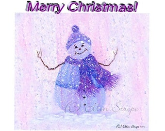 CARD, note card, Christmas card, snowman, snow, Ellen Strope, snow, pastel colors, blank card, castteam
