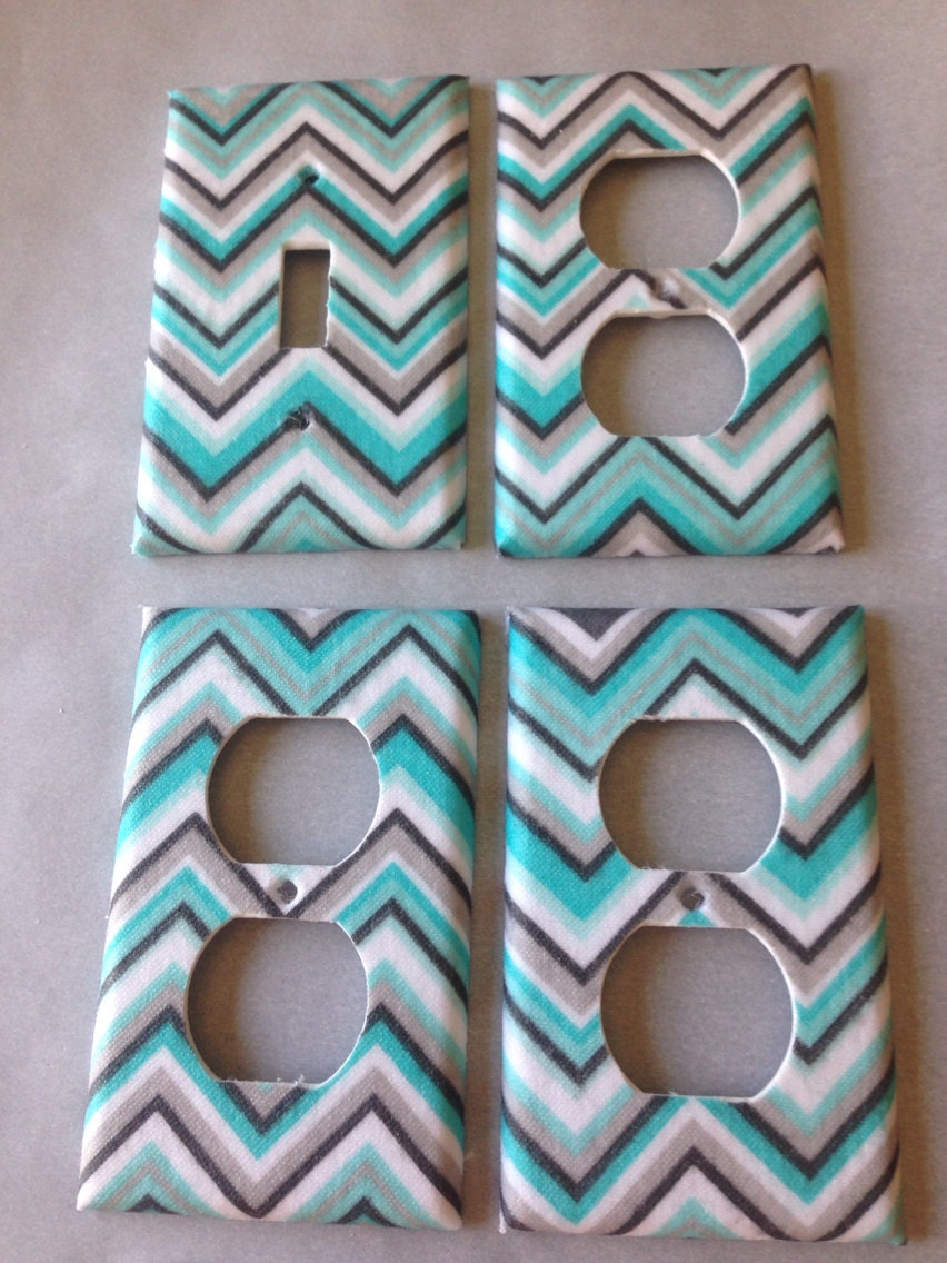 Blue gray chevron light switch cover aqua gray nursery decor for Turquoise and grey bathroom accessories