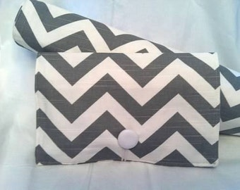 Gift Set-----Boutique Diaper Wipe Clutch and Changing Pad ---Grey Chevron-
