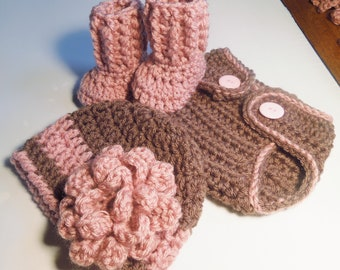Newborn Beanie Hat, Diaper Cover and Booties Set Crocheted in Dusty Rose and Brown