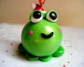 Christmas Ornament Frog with Santa Hat Polymer Clay Frog Christmas Ornament Cute Christmas Ornaments