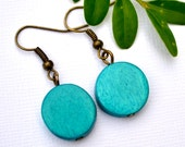 Teal Wood Rounds . Earrings . Willow Collection