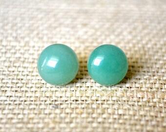 Green Aventurine Gemstones . Studs . Earrings