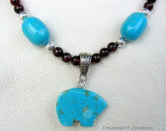 Bear Totem Necklace, Turquoise Howlite and Red Tiger Eye Native American Style