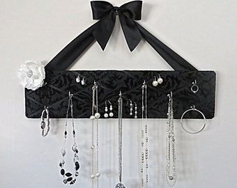 ONLY ONE Left, READY to ship- Original French Jewelry Hanger - Popular Flocked Black Damask on Black Satin with 11 Hooks
