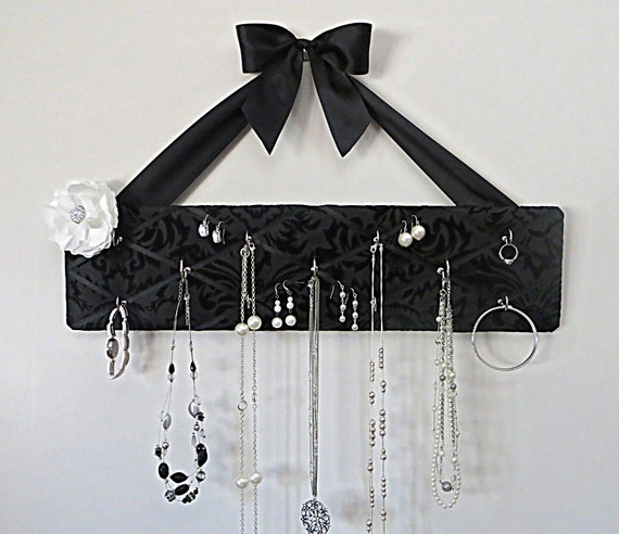 ONLY ONE Like This Left - Original French Jewelry Hanger - Popular Flocked Black Damask on Black Satin with 11 Hooks