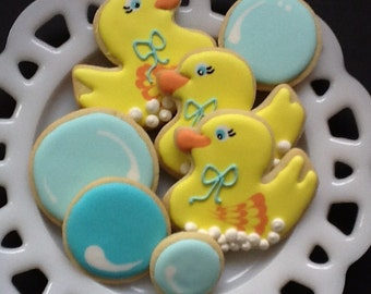Rubber Duckies sugar cookie favors