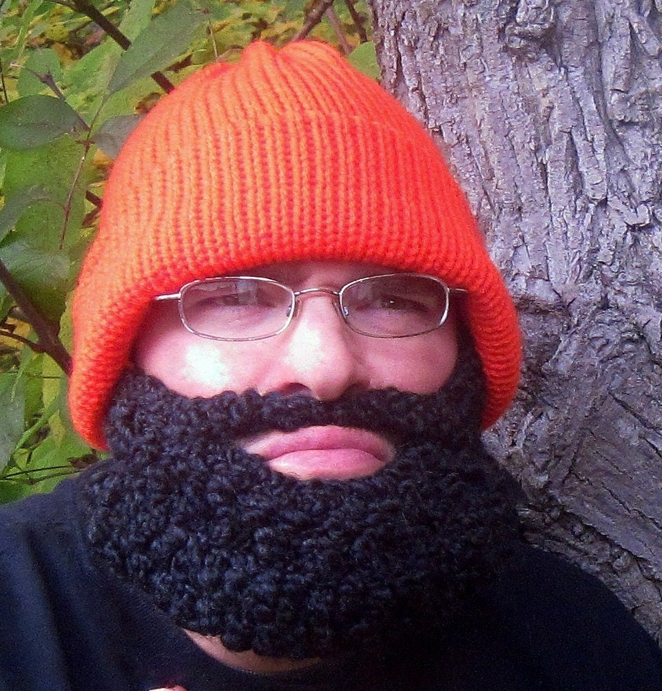 Beard Beanie Hat Hunter Orange Knit Hat By Simplycollectible