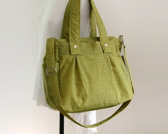 SALE - Women bag, Diaper bag, Purse, Everyday tote bag, Messenger bag, Shoulder bag, Green Water-resistant Nylon, 3 Compartments - Nuch