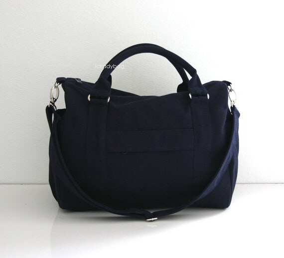 Navy Blue Canvas - Mini Duffle bag  Duffel  Handbag  Diaper bag ...