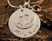 Hand Stamped Mommy Necklace - Personalized Jewelry - Sterling Silver Necklace - My Baby Info Deluxe (name)