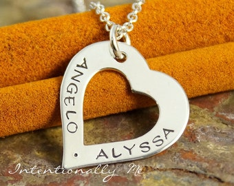Personalized Hand Stamped Necklace - Heart Jewelry - Sterling Silver Heart Washer necklace - Love Heart (romantic necklace)