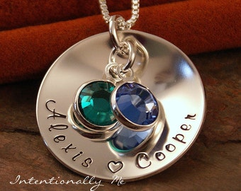 Hand Stamped Mommy Necklace - Sterling Silver Personalized Custom Jewelry- Two of us Cupped Tag with birthstones