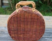 Wicker and Gingham Clutch
