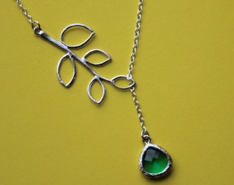 leaf necklace with Emerald green  - leaf lariat necklace