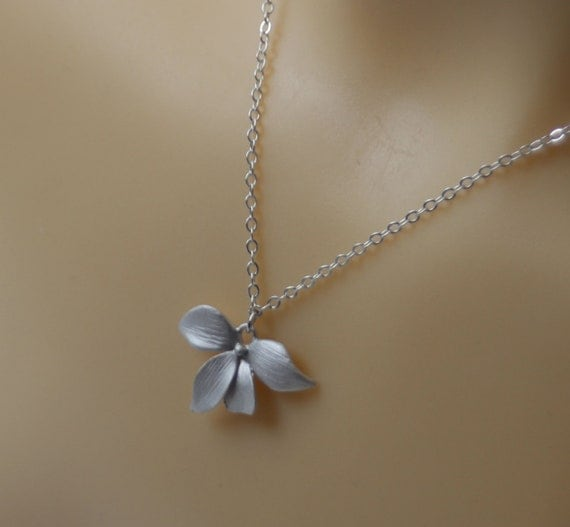 drop orchid necklace silver - flower  orchid necklace , flower necklace
