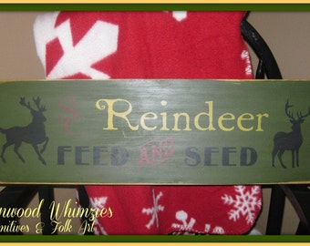 Christmas Sign, Christmas wooden sign, Reindeer, Reindeer Feed, Christmas reindeer, holiday sign, wooden sign