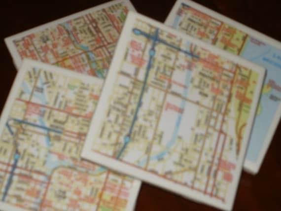 Map Coasters - Chicago Street Map Coasters...Set of 4...Full Cork Bottoms NOT Felt