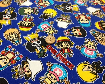 ONE PIECE  fabric blue color One yard  Japanese anime printed