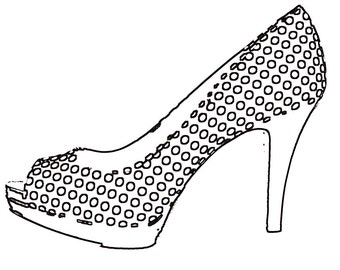 Shoe High Heel Women's Black and White Polka dot Fashion - 11x14 art print by Dawn Smith