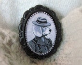 victorian/edwardian style portrait of beagle dog lady in hat brooch -  black and white cameo - small 18x25mm anthropomorphic pin