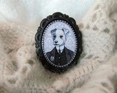 jack russell brooch - boy dog black and white portrait - victorian style cameo